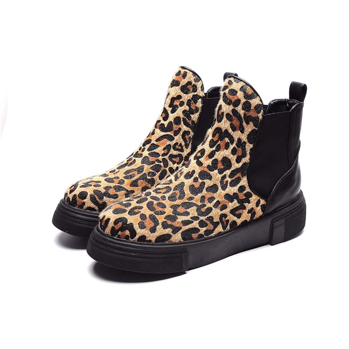 HBDLH Damenschuhe Damen - Stiefel, Komfortable, Flach und Dicken Boden 4Cm, Kurze Stiefel, Retro - Stiefel, Leopardenmuster.