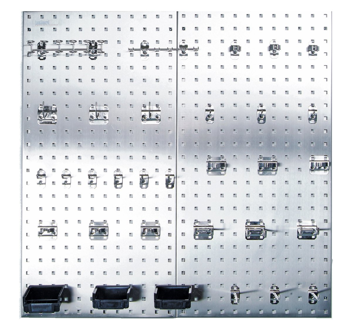 Triton Products LB18-SKit Stainless Steel LocBoard Assortment with Two 304 Stainless Steel Square Hole Pegboards with 32 piece Stainless LocHook Assortment and 3 Plastic Hanging Bins by Stainless Steel LocBoard