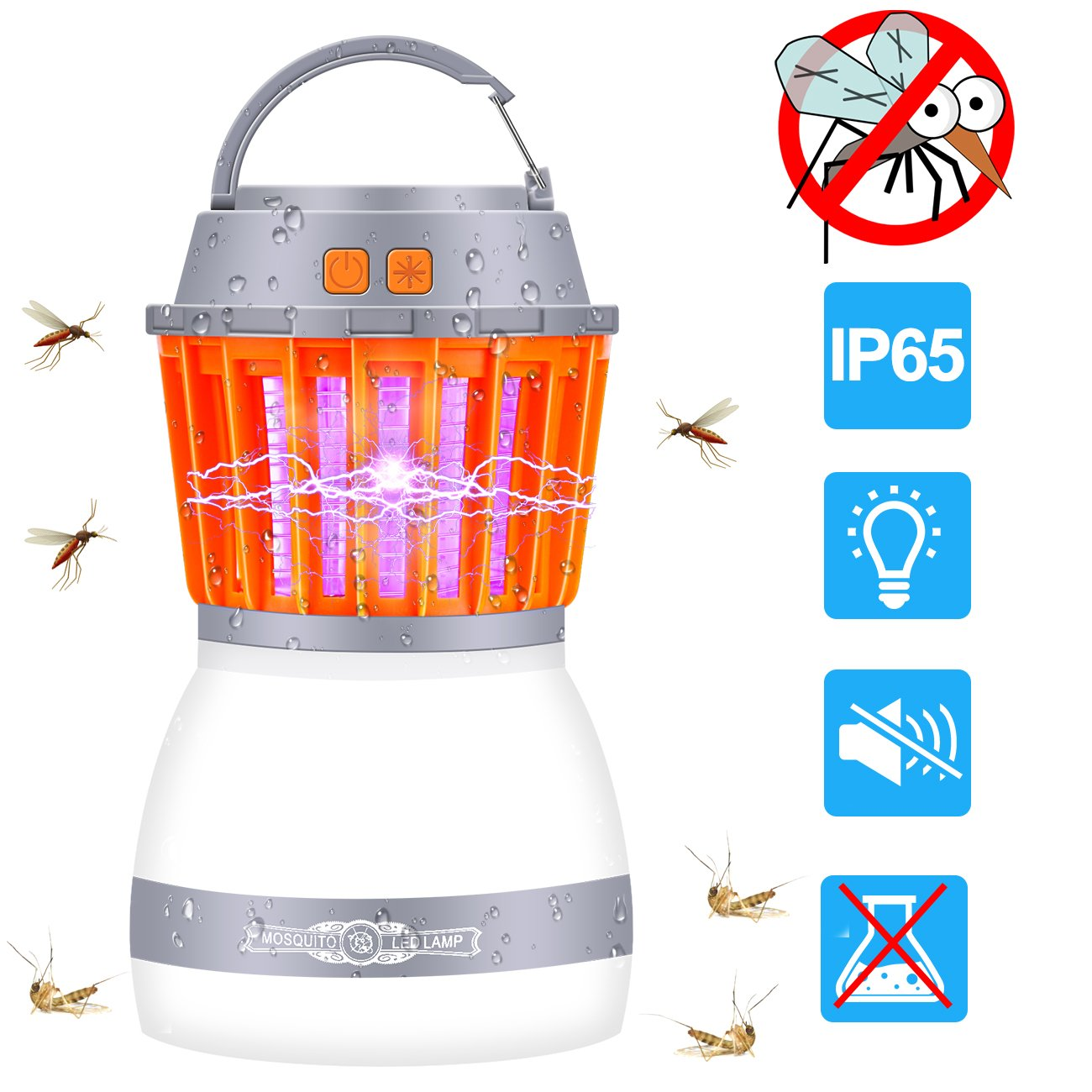 MINGER Bug Zapper & Camping Lantern, 2 in 1 Electronic Mosquito Insect Killer LED Light Night Lamp, Waterproof USB Rechargeable Portable for Indoor Outdoor Home Traveling Hiking