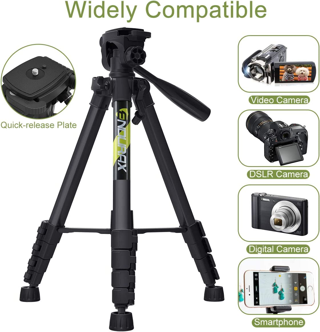 """Endurax 66"""" Video Camera Tripod for Canon Nikon Lightweight Aluminum Travel DSLR Camera Stand with Universal Phone Mount and Carry Bag : Camera & Photo"""