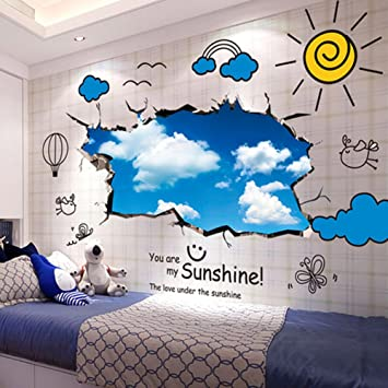 Kids room removable cartoon animal giraffe wall sticker wallpaper3d wall stickers perfect for kids