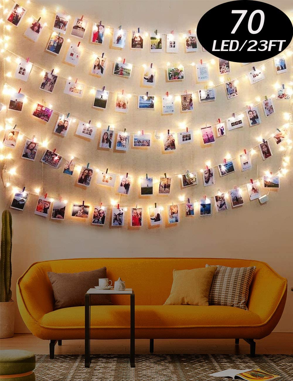Warm White Light Photo Clip String Lights 23Ft - 70 LED Fairy Lights with 50 Clear Clips for Hanging Pictures, Perfect Dorm Bedroom Wall Decor Wedding Christmas Decoration(Battery Operated)