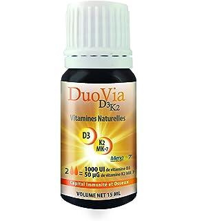 Duovia D3K2 - Vitaminas naturales D3 K2 MK7- 4 meses de tratamiento: 1000 UI de D3 y 50 µg de K2/día. No contiene…