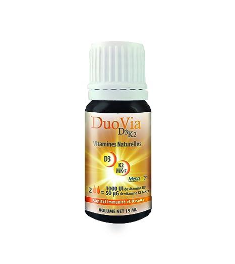Duovia D3K2 - Vitaminas naturales D3 K2 MK7- 4 meses de tratamiento: 1000 UI