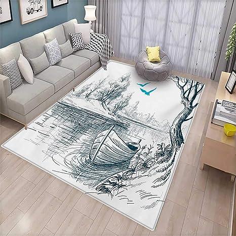 Amazoncom Landscape Kids Carpet Playmat Rug Boat On Calm