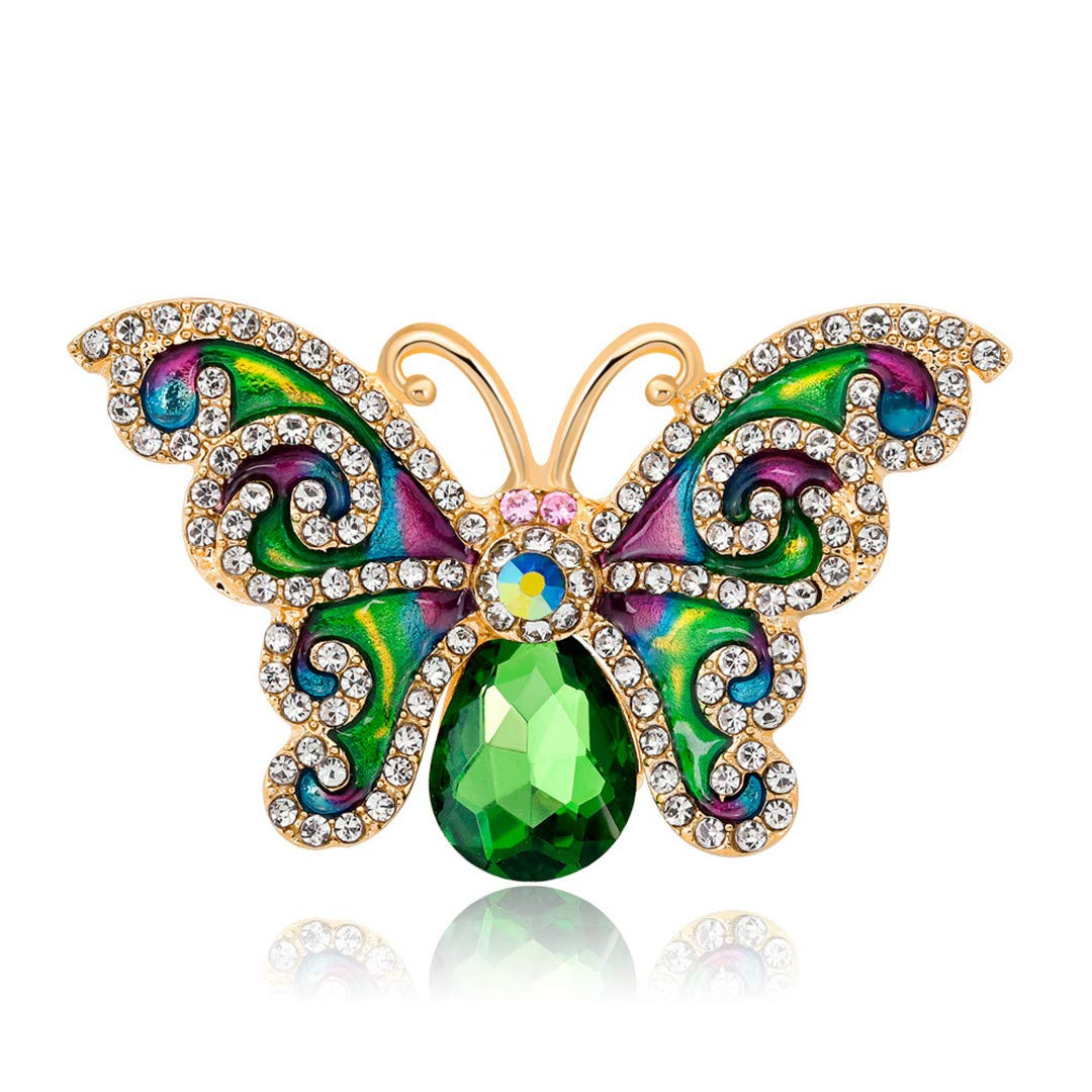 RHINE-VBRACH Rhinestone Green Color Butterfly Brooches Summer Enamel Pins Jewelry Party Accessories Gift