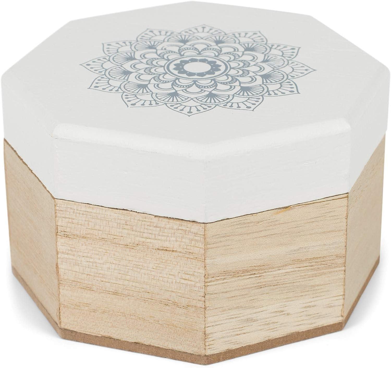 styleBREAKER Caja de joyería de Madera de 8 Bordes con impresión de Flores de Mandala para Joyas, Colgantes, Cadenas, Caja de Regalo 05050098