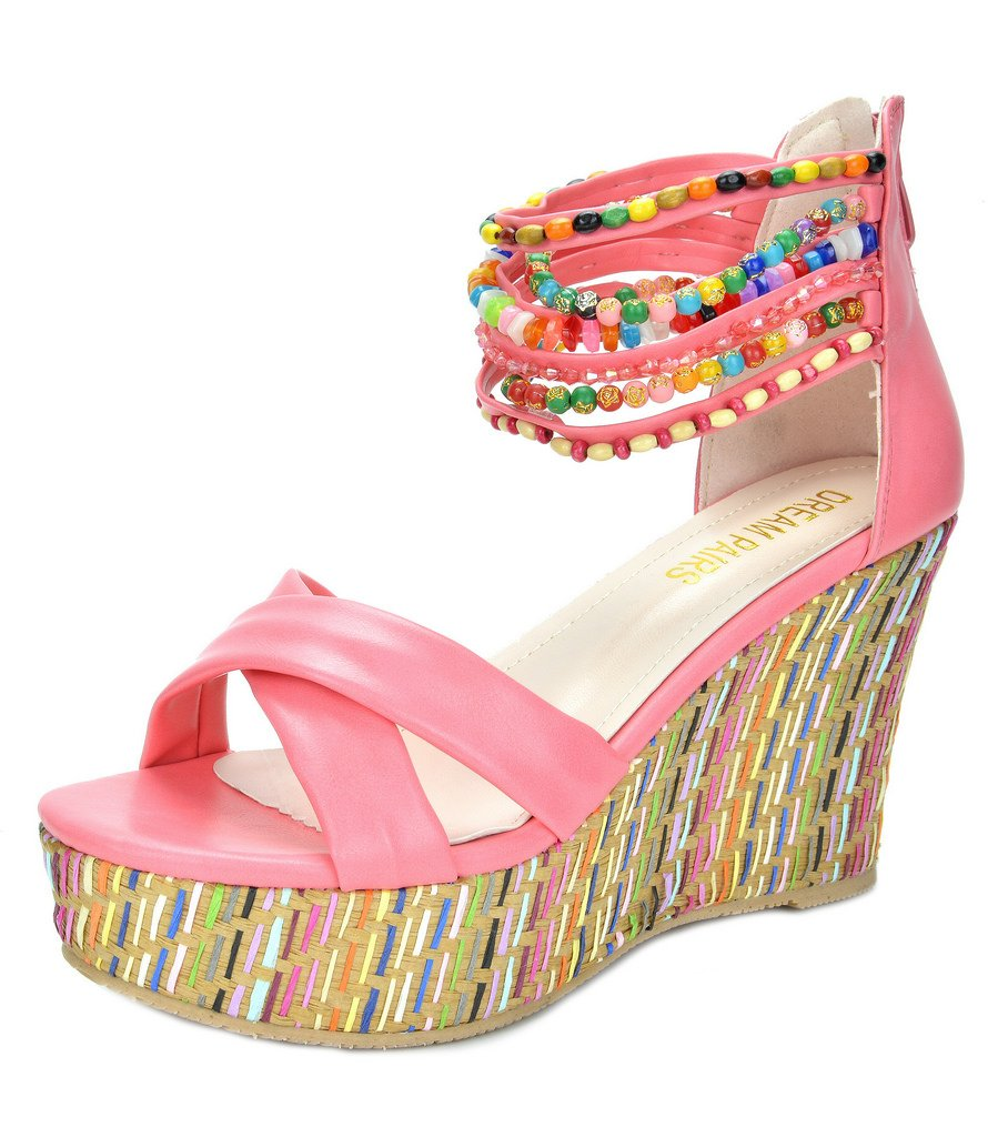 DREAM PAIRS Bling Women's Wedge Sandals Pearls Across The Top Platform High Heels Coral Size 8.5 by DREAM PAIRS (Image #1)