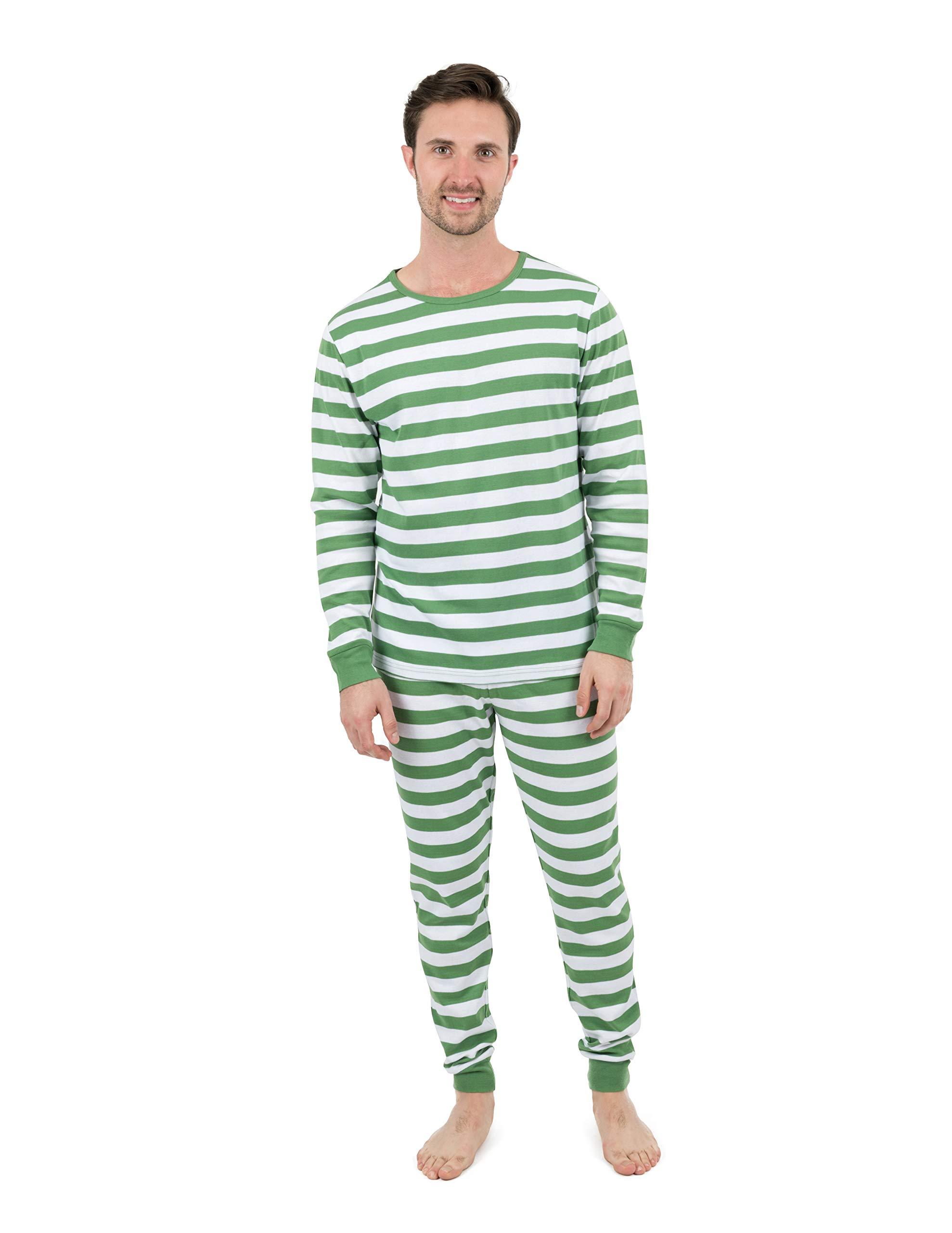 2ecae5a3ba Leveret Mens Pajamas Green White Stripes 2 Piece Pajama Set 100% Cotton Size  XX-Large