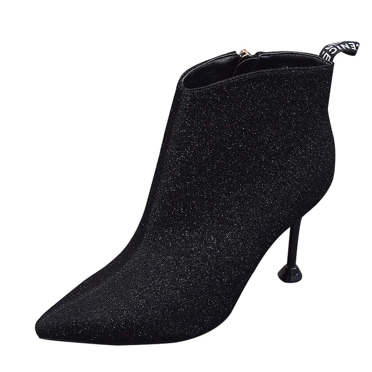 LBTSQ-Kurze Stiefel Schuhe Mit Hohen Absätzen 8Cm Schlank Dünn Und Verwies Martin Stiefel Mit Stiefeln Damenschuhe.