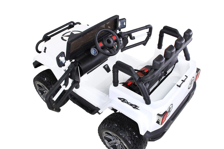 Sd Karte Usb Kinder Elektroauto Jeep Wrangler Offroad Rot 2-Sitzer 4 x 35 Watt Motor Rc 2,4 Ghz Fernbedienung 4x4 Allrad Lizenziert Elektro Auto f/ür Kinder ab 3 Jahre