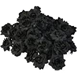 Tinksky 50pcs Silk Rose Flower Heads for Hat Clothes Album Embellishment Decoration (Black)