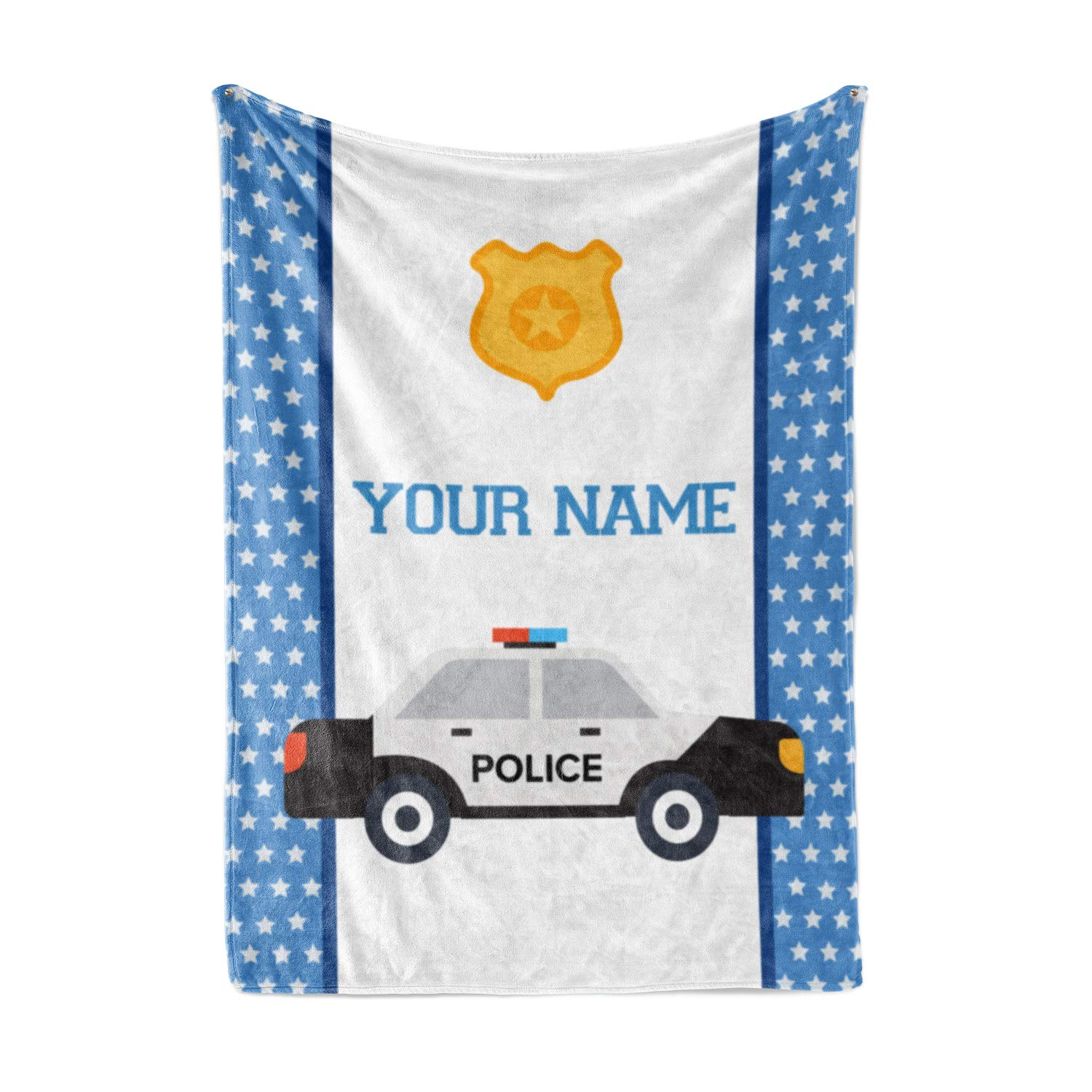 Personalized Custom Police Car Fleece and Sherpa Throw Blanket for Boys, Girls, Kids, Baby - Toddler Police Car Blankets Perfect for Bedtime, Bedding or as Gift (50'' x 60'' - Child) by Personalized Corner