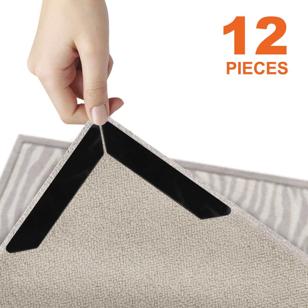 12 PCS Rug Grippers, Double Sided Carpet Tape No Slip Rug Pad Tape for Hardwood Floors Area Rugs Runners Rugs, Renewable,Anti Curling, Keep Corners and Edges Flat