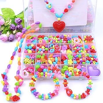 Eizur Stringing Perlen Spiel Schnürsystem Perlen Beads Spielzeug DIY Perlenschmuck zum Basteln von Schmuck Ketten Armbändern für Kindertag Kinder
