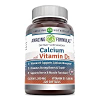 Amazing Formulas Calcium with Vitamin D3 - Calcium 1200 Mg, Vitamin D3 1000 Mg 220...