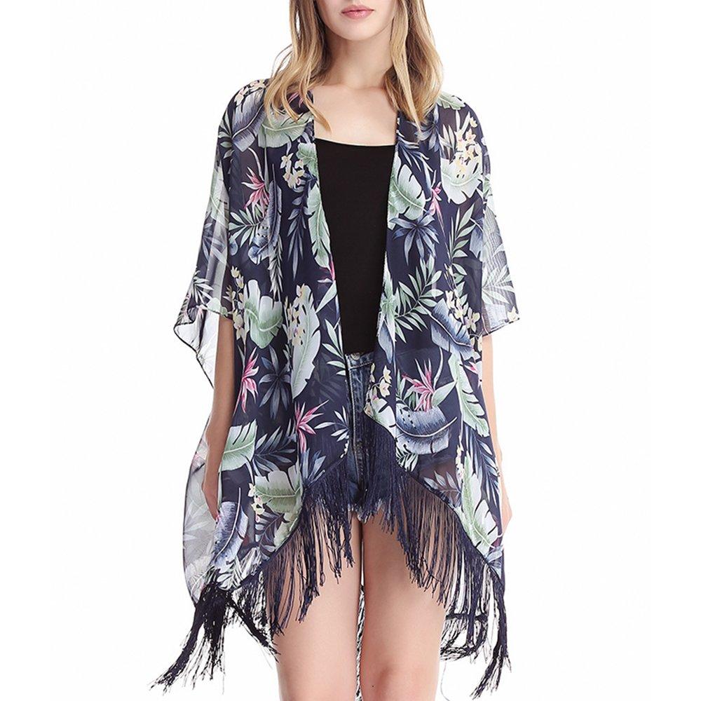 MissShorthair Women's Light Floral Print Chiffon Kimono Cardigan Coverup Blouse Tops product image