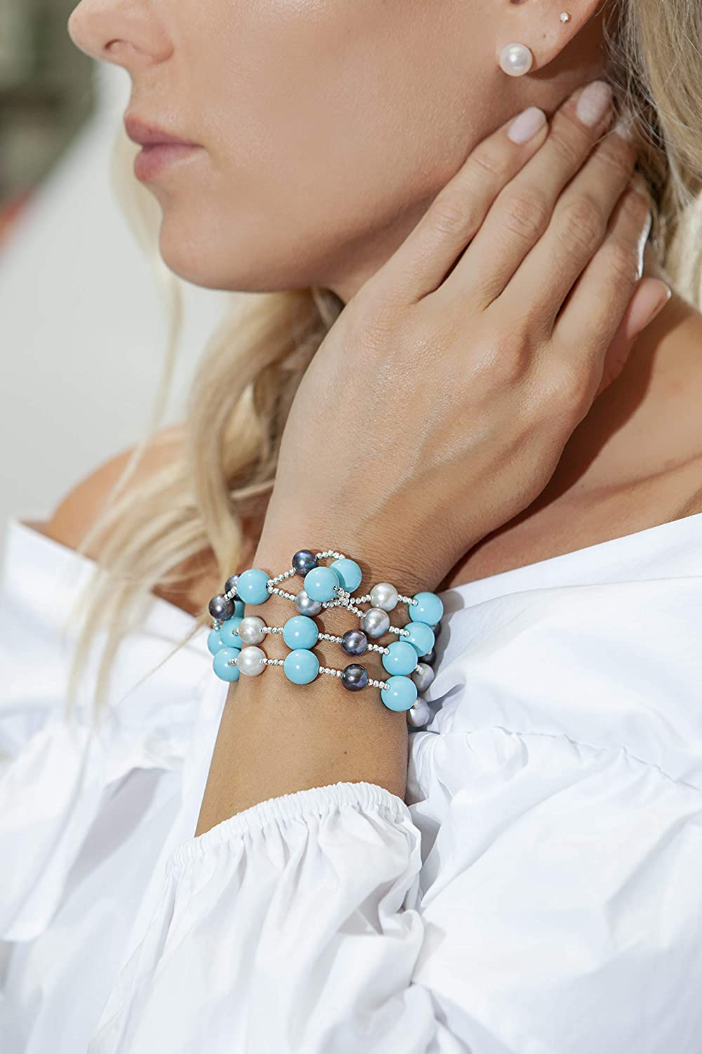 Kaufmann De Suisse Freshwater Black and Grey Pearl Wrap Bracelet with Turquoise 24005