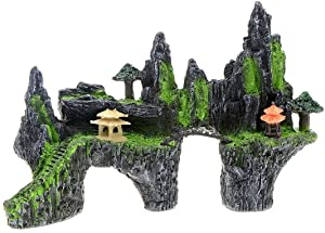 Saim Mountain View Aquarium Ornament Tree House Bridge Fish Tank Decoration