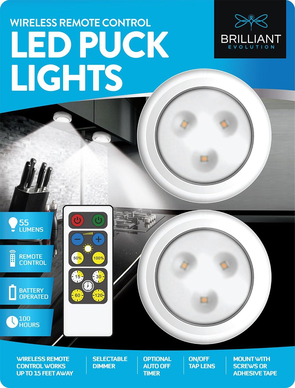 Brilliant Evolution Wireless Remote Control LED Puck Light 2 Pack | LED Under Cabinet Lighting | Closet Light | Battery Powered Lights | Under Counter Lighting | Stick On Lights by Brilliant Evolution