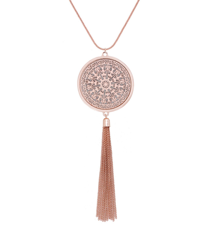MOLOCH Long Necklaces For Woman Disk Circle Pendant Necklaces Tassel Fringe Necklace Set Statement Pendant (rose gold)