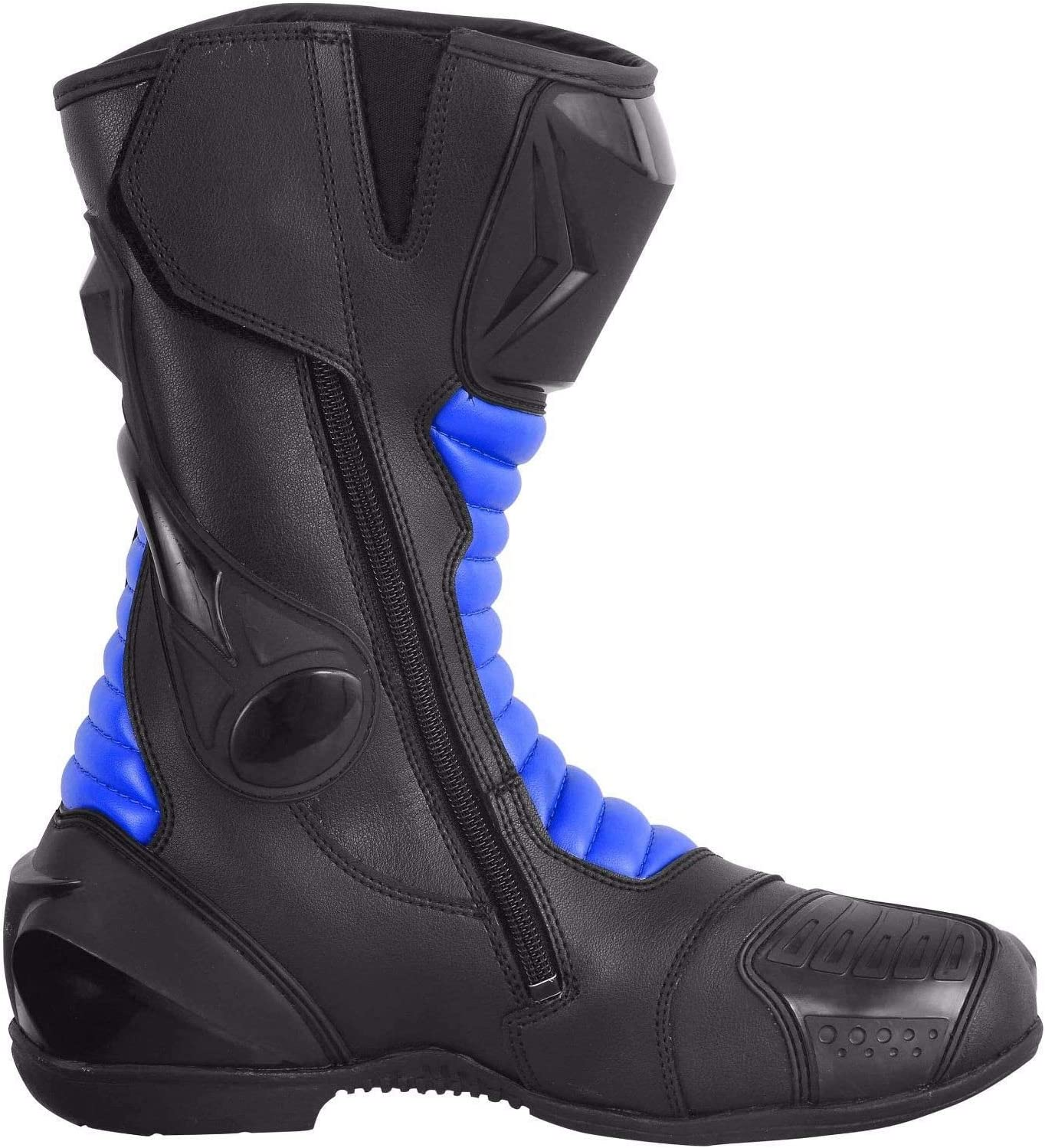 EU 44 UK 10 Blue /& Black Pro First Split Leather Waterproof Motorcycle Motorbike Armoured Boots Boot Shoes Protection Anti Slip Racing Sports