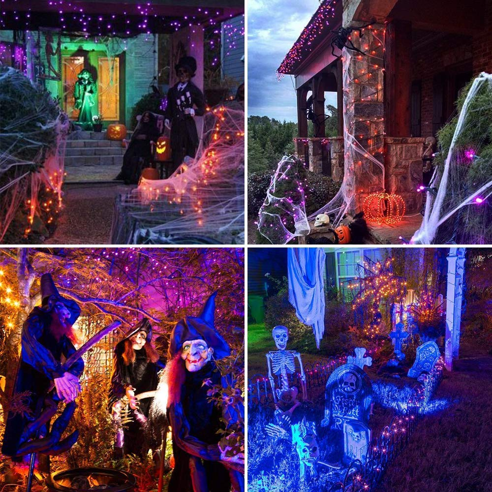 WeLax 72ft 200 LED 8 Mode Solar Powered String Lights Halloween Outdoor Decor Fairy Lights Waterproof for Indoor Garden Party Patio Home Wedding Lawn Christmas Tree Decorations (Purple) by WeLax (Image #5)