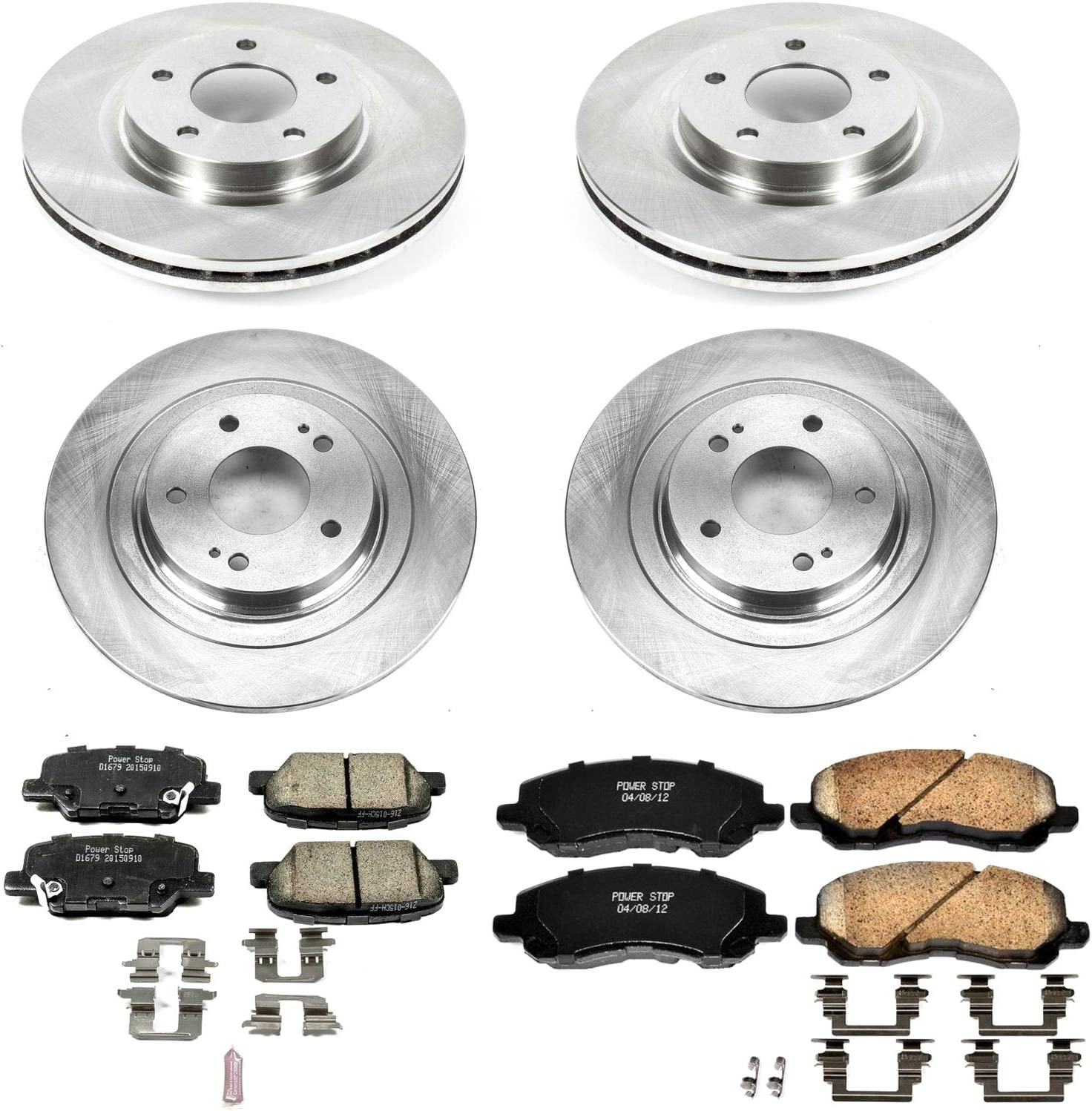 Power Stop KOE7607 Autospecailty Stock Replacement Front and Rear Brake Kit Stock Brake Rotors and Ceramic Brake Pads