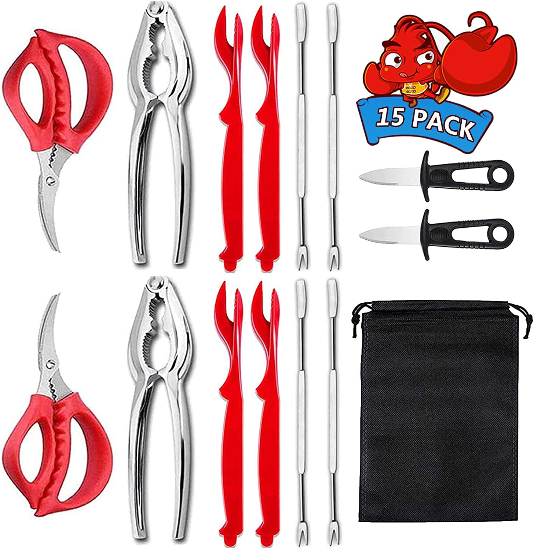 Lobster Crackers and Picks Set, Seafood Tools Set Crab Leg Crackers and Tools Including 2 Clam Knife, 4 Crab Crackers, 2 Lobster Shellers,4 Forks and 2 Crab Scissors