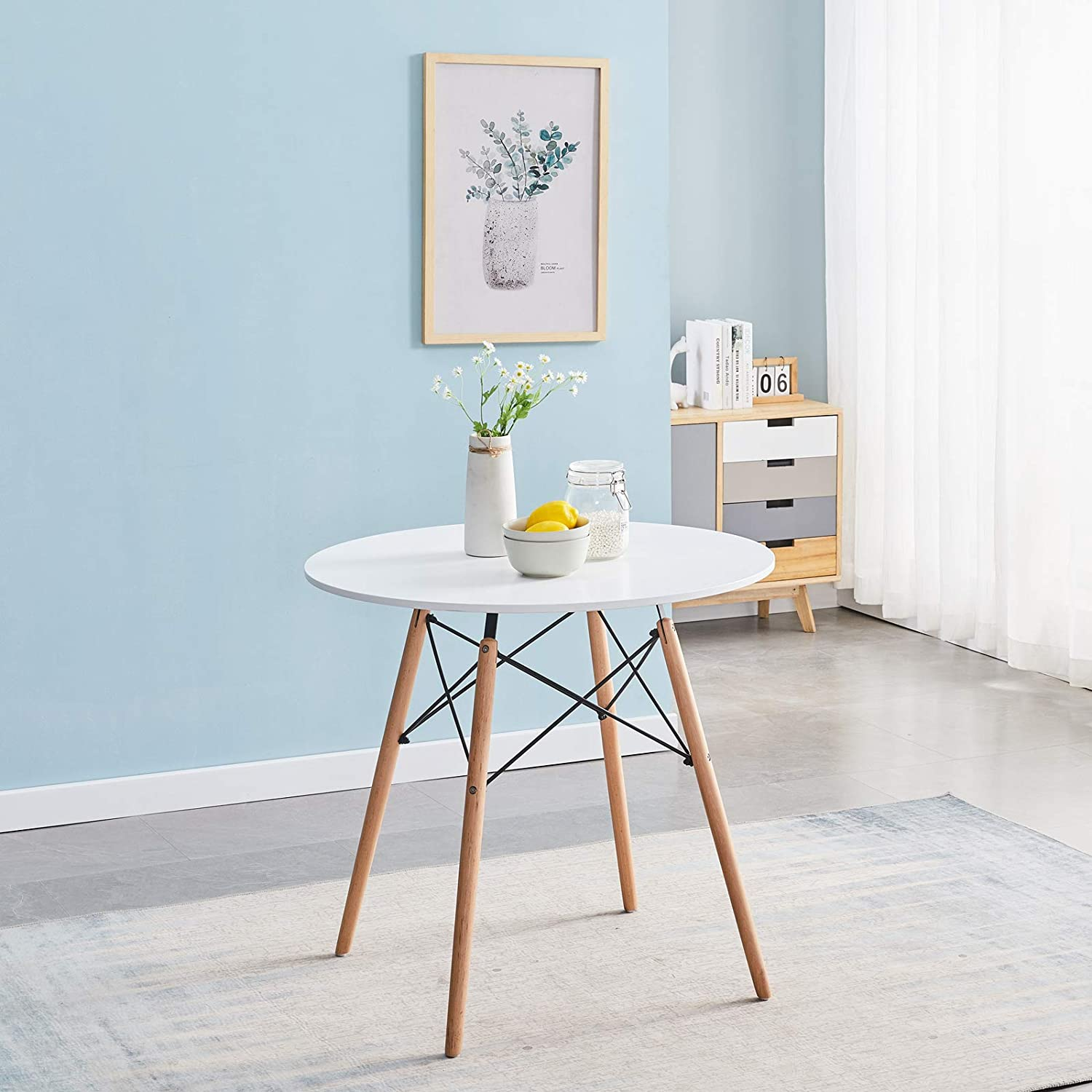 Coffee Table for Kitchen Dining Room,Living Room,White Symylife Modern Round Dining Table with Wood Legs