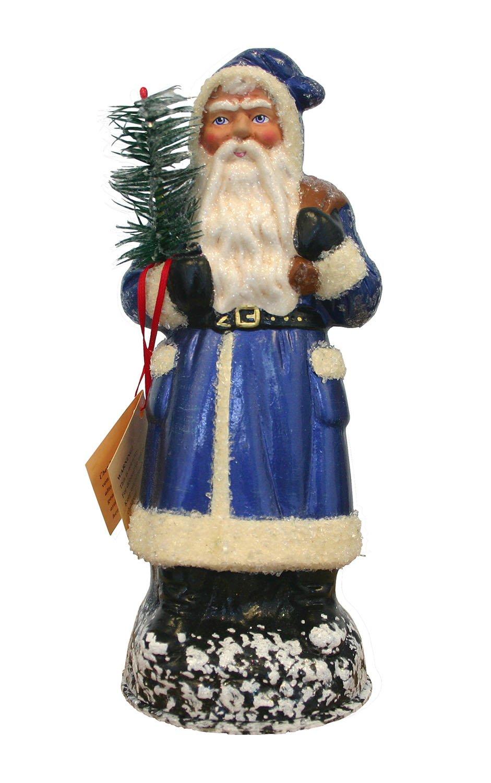 Alexander Taron Schaller Paper Mache Santa Candy Container, Blue/Cream - 9''H x 3.5''W x 3.5''D
