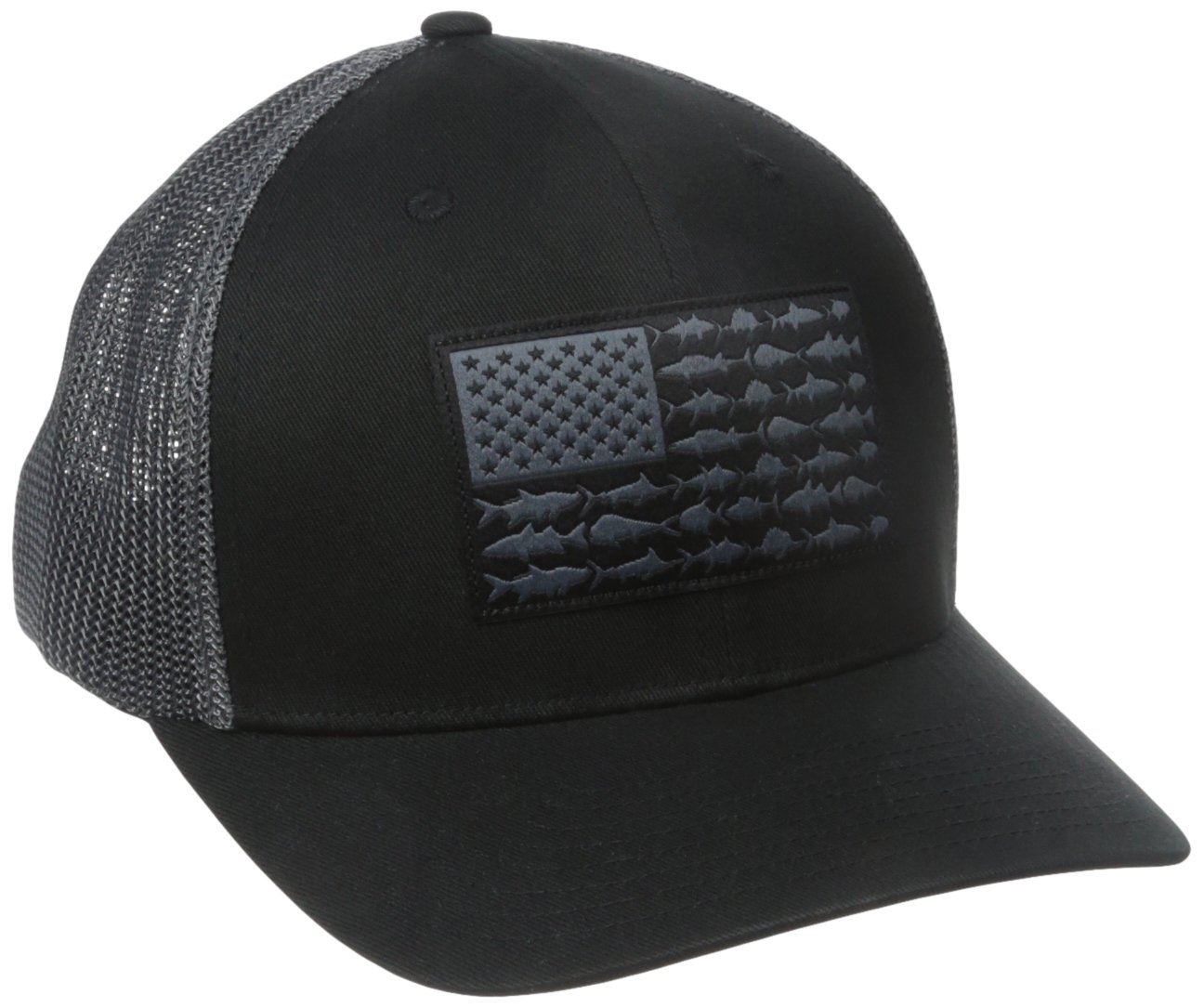 Columbia Men's PFG Mesh Ball Cap, Large/X-Large, Black/Fish Flag
