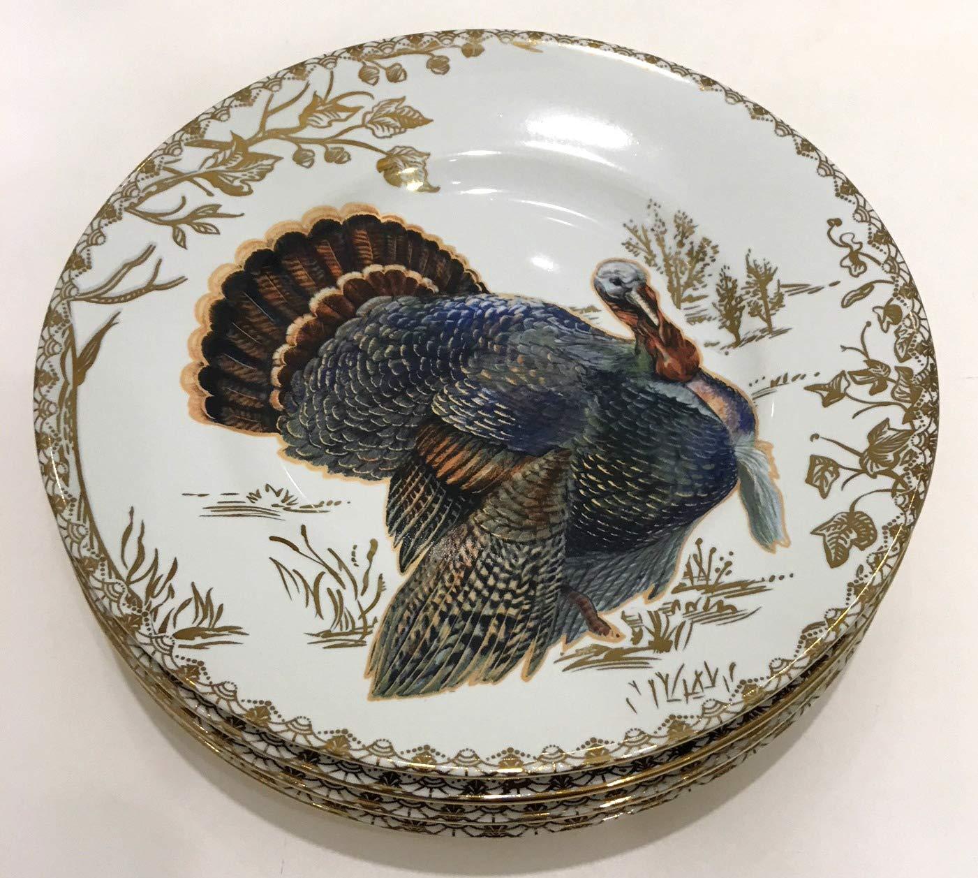 222 Fifth Golden Hill Wild Turkey Salad Plates with Gold Underside   Set of 4   Fine Porcelain
