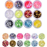 YesLady Nail Art Glitter Mylar Slices Irregular Sequins Glass Pieces Foil flakes Decoration 12 Colors
