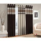 La Elite 3 Piece Polyester Door Curtain Set - 7ft, Brown
