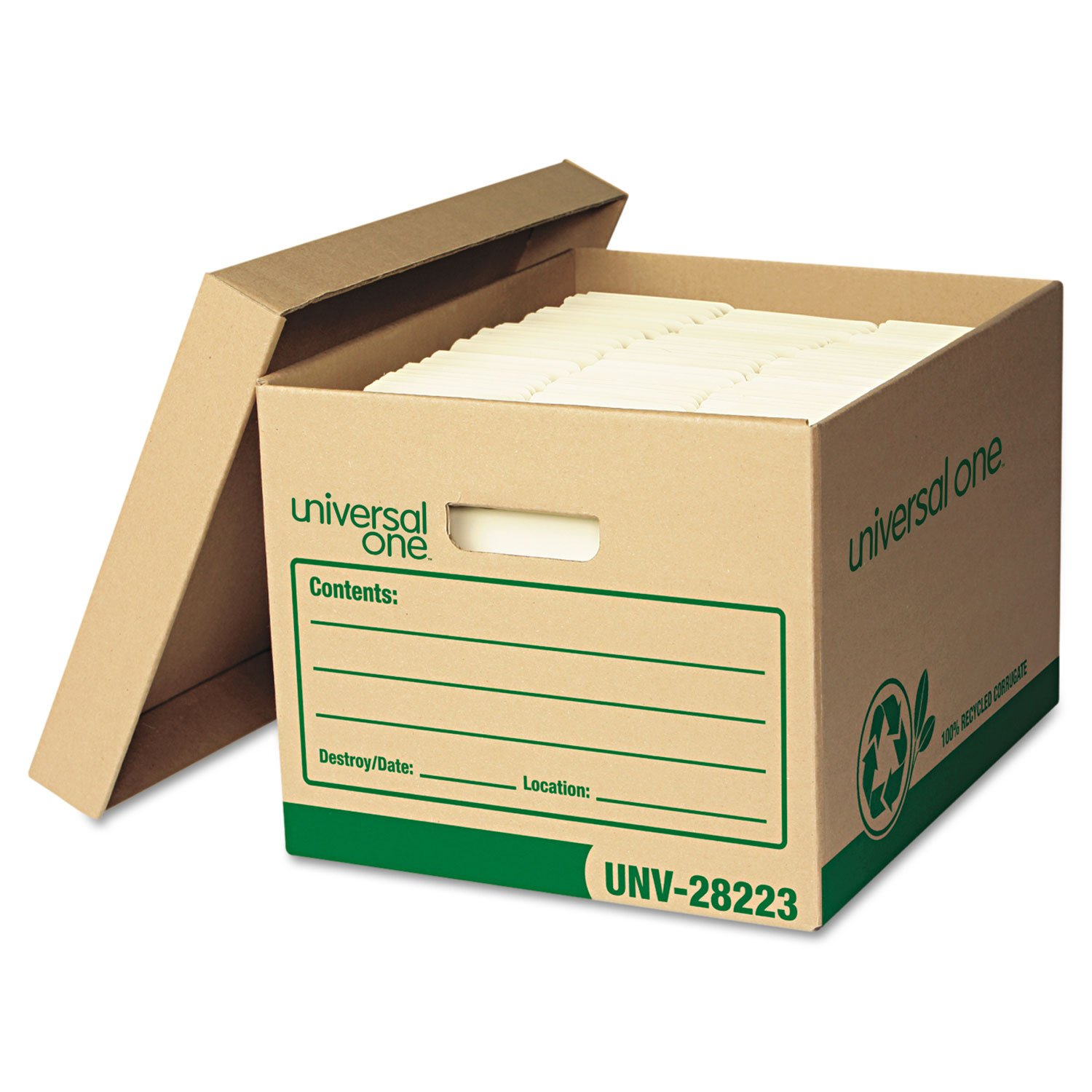 Universal 28223 Recycled Record Storage Box, Letter/Legal, 12 x 15 x 10, Kraft, 12/Carton