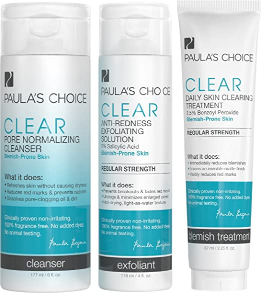 Paula's Choice CLEAR Regular Strength Acne Kit - 2% Salicylic Acid & 2.5% Benzoyl Peroxide for Moderate Acne