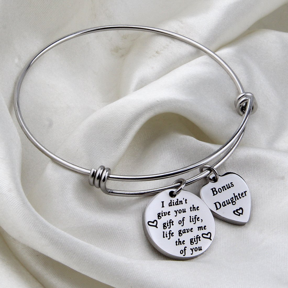 HOLLP Stepdaughter Bracelet Bonus Daughter Jewelry Daughter in Law Gift I Didnt Give You The Gift of Life Life Gave Me The Gift of You Bracelt Stepdaughter