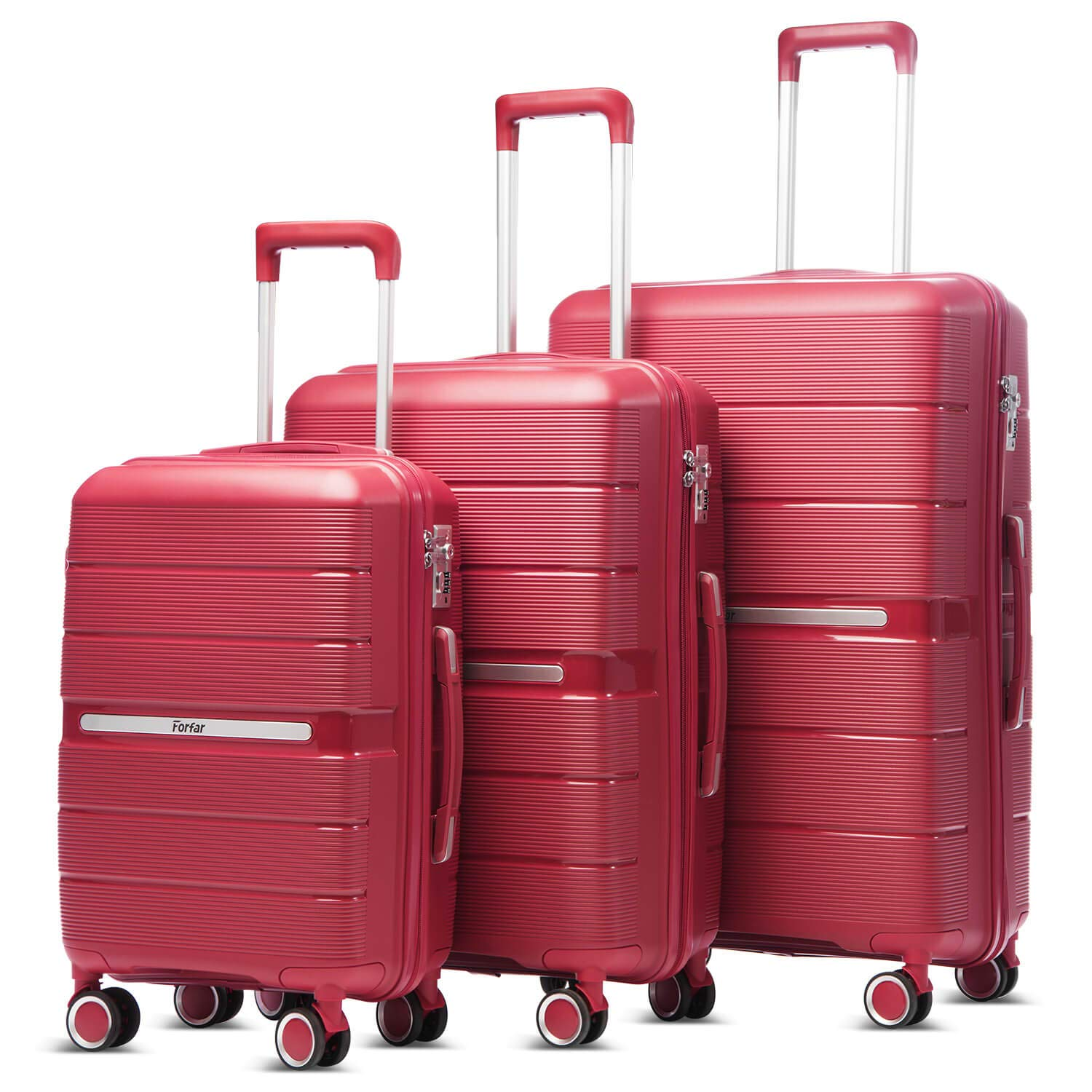 Forfar 3 Piece Luggage Sets with TSA Lock  Spinner Hardshell PP Lightweight Suitcases  20in 24in 28in Red