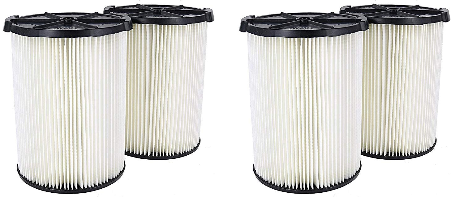 Ridgid VF4200 Genuine Replacement 1-Layer Everyday Dirt Wet/Dry Vac Filter for Ridgid 5-20 Gallon Vacuums (VF4000) (2 X Pack of 2) by Ridgid