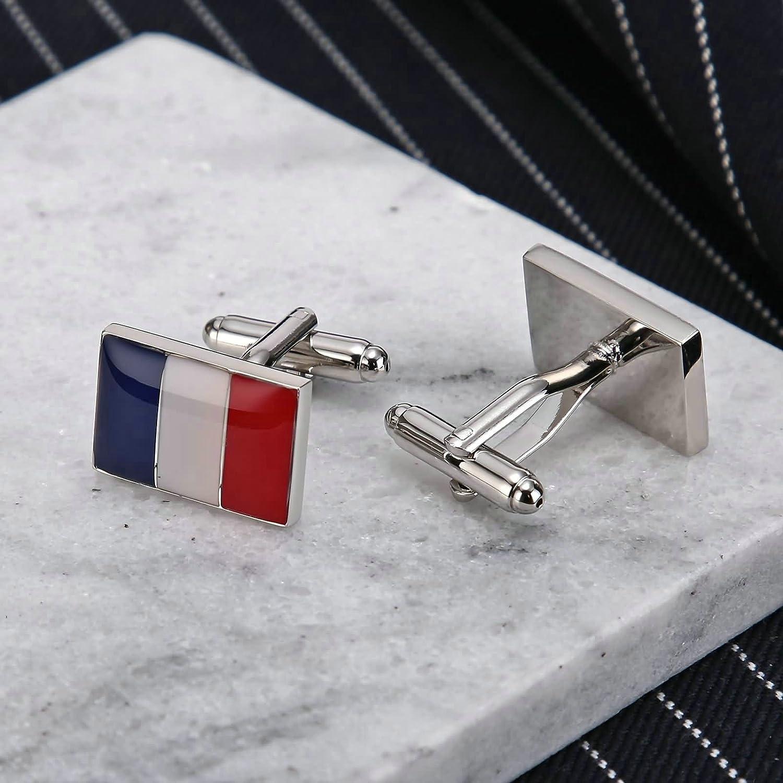 Aooaz Boutons De Manchette En Acier Inoxydable Pour Les Hommes France Drapeau Rectangle Rouge Blanc Bleu Boutons De Manchette Entreprise Mariage Avec Bo/îte-Cadeau