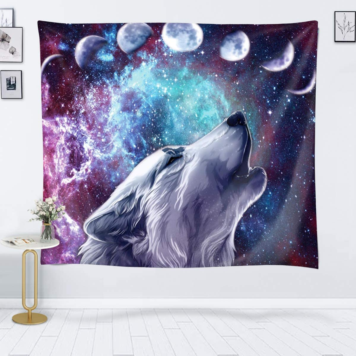 JOYSOG Wolf Tapestry Space Moon Tapestry Wall Hanging Wolves in Starry Night Sky Tapestries Galaxy Stardust Wall Tapestry for Bedroom Living Room Dorm - 60