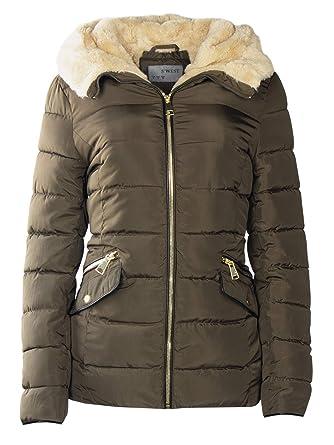 neueste Kollektion beliebte Marke Outlet-Verkauf S'West Damen Winter Steppjacke Stehkragen MIT Fell GEFÜTTERT KURZ Mantel  TEDDYFELL