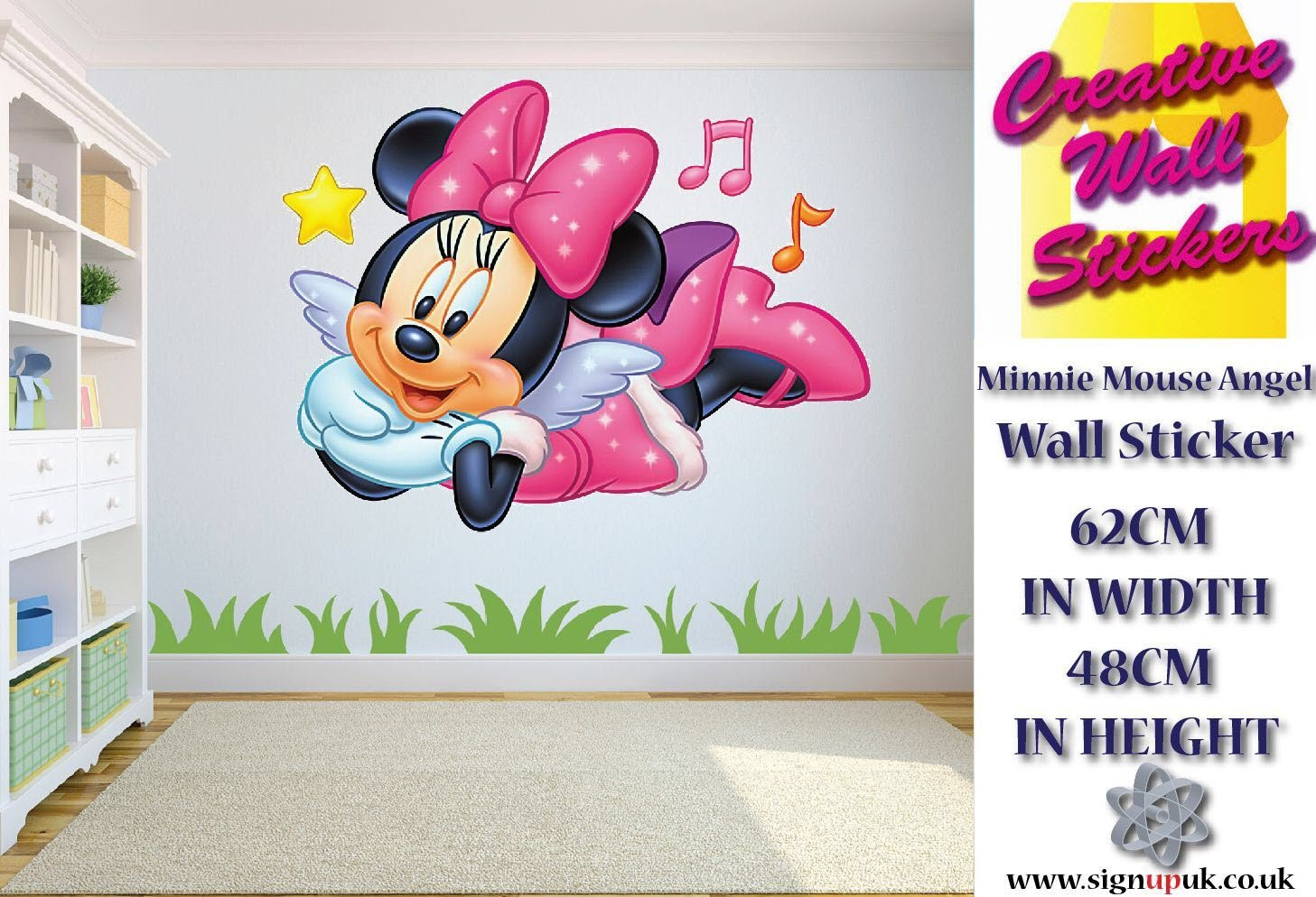 Disney Minnie Mouse Angel Wall Sticker Childrens Room Decor Large. Creative Wall Stickers