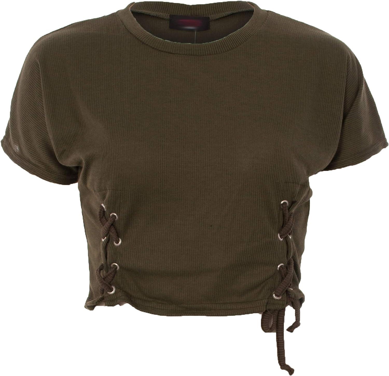 Re Tech UK Ladies Lace Tie Eyelet Rib Knit Short Sleeve Crop Round Neck Plain Top T-Shirt