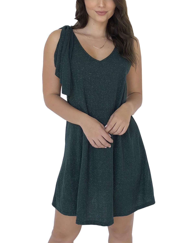 Blooming Jelly Women's V Neck Sleeveless Ruffle Sexy Flowy Mini Dress Green