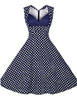Surenow Robe Vintage Audrey Hepburn Rockabilly Polka Plissé
