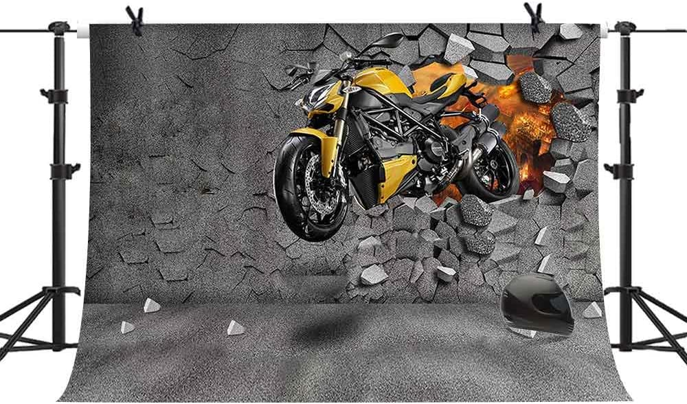 Motorcycle 6x8 FT Photography Backdrop Adventure Motorbike Image Motorcyclist Adventure Race Powerful Engine Vehicle Background for Baby Birthday Party Wedding Vinyl Studio Props Photography