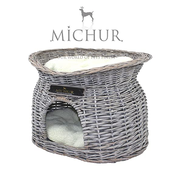 MICHUR RICHY, Cama del perro, cama del gato, cesta del gato, cesta del perro, sauce, cueva, mimbre, gris: Amazon.es: Hogar
