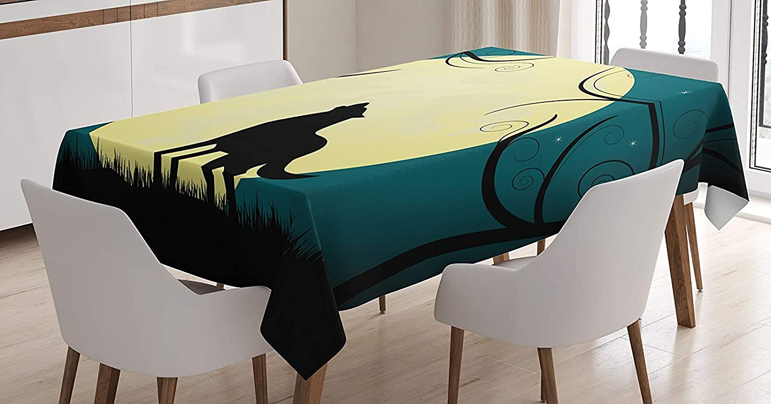 BMALL Cotton Linen Tablecloth Animal Barking at The Moon in a Fantastic Forest with Swirled Trees Table Cover for Kitchen Dinning Tabletop Decoration 60X120inch